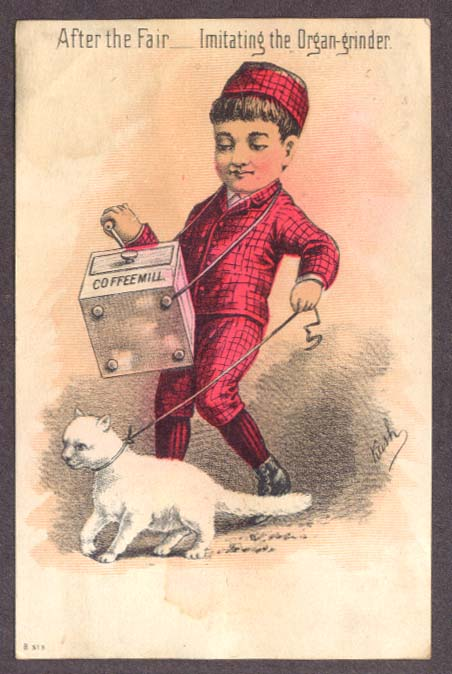 After Fair Boy Imitating Organ-grinder trade card