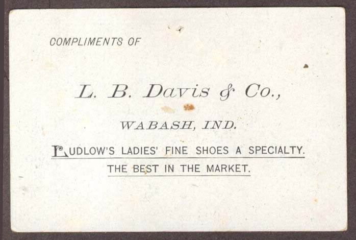 Ludlow Ladies Shoes L B Davis Wabash IN trade card