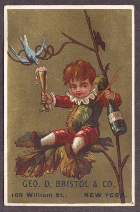 Image for Bristol Stationers NYC trade card champagne drunk boy