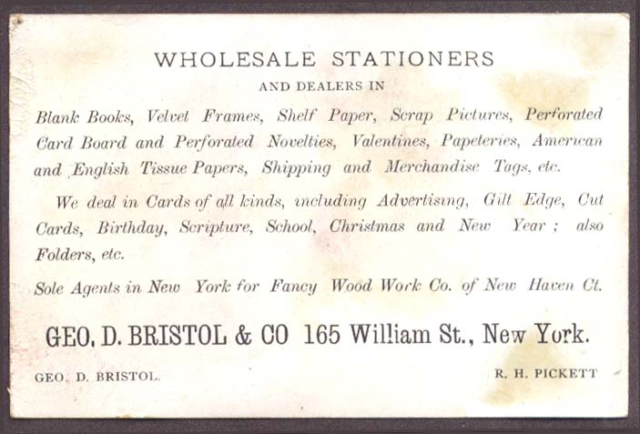 Bristol Stationers NYC trade card champagne drunk boy