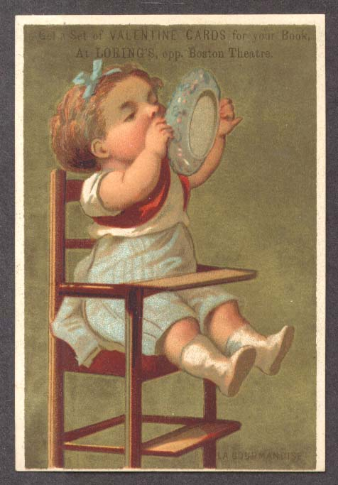 Image for Loring's Boston baby high chair lick dish trade card