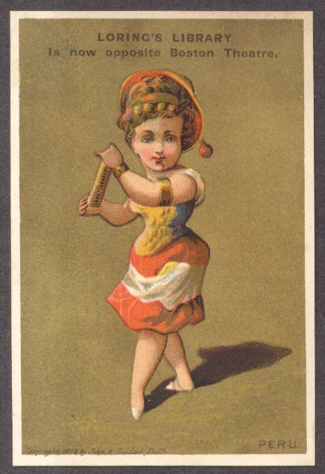 Loring's Library Boston trade card Girl of Peru 1879
