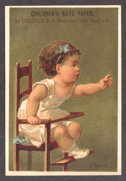 Image for Loring's Children's Paper Boston trade card highchair