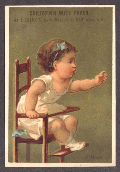 Loring's Children's Paper Boston trade card highchair