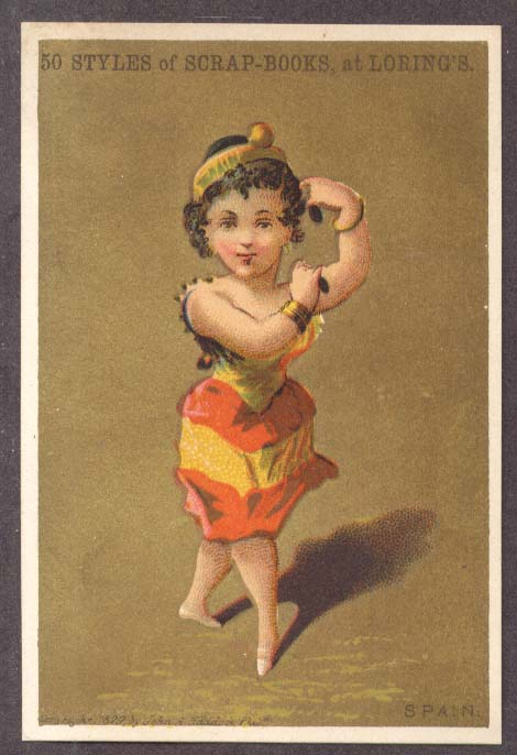 Loring's Scrapbook Boston trade card Girl of Spain 1879