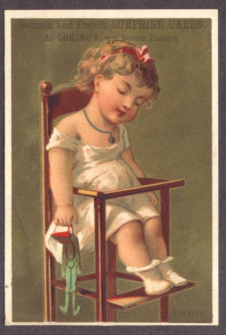 Image for Loring's Surprise Boston trade card asleep in highchair