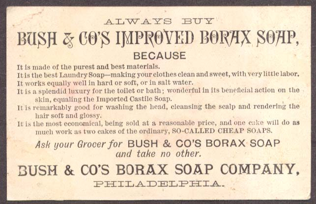 Image for Bush Borax Soap Philadelphia trade card Scot boy musket
