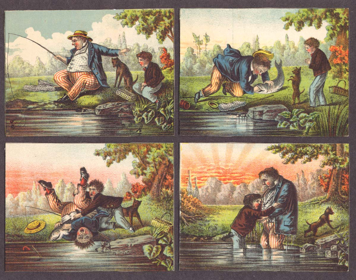Boy & man fishing disaster trade card set of 4