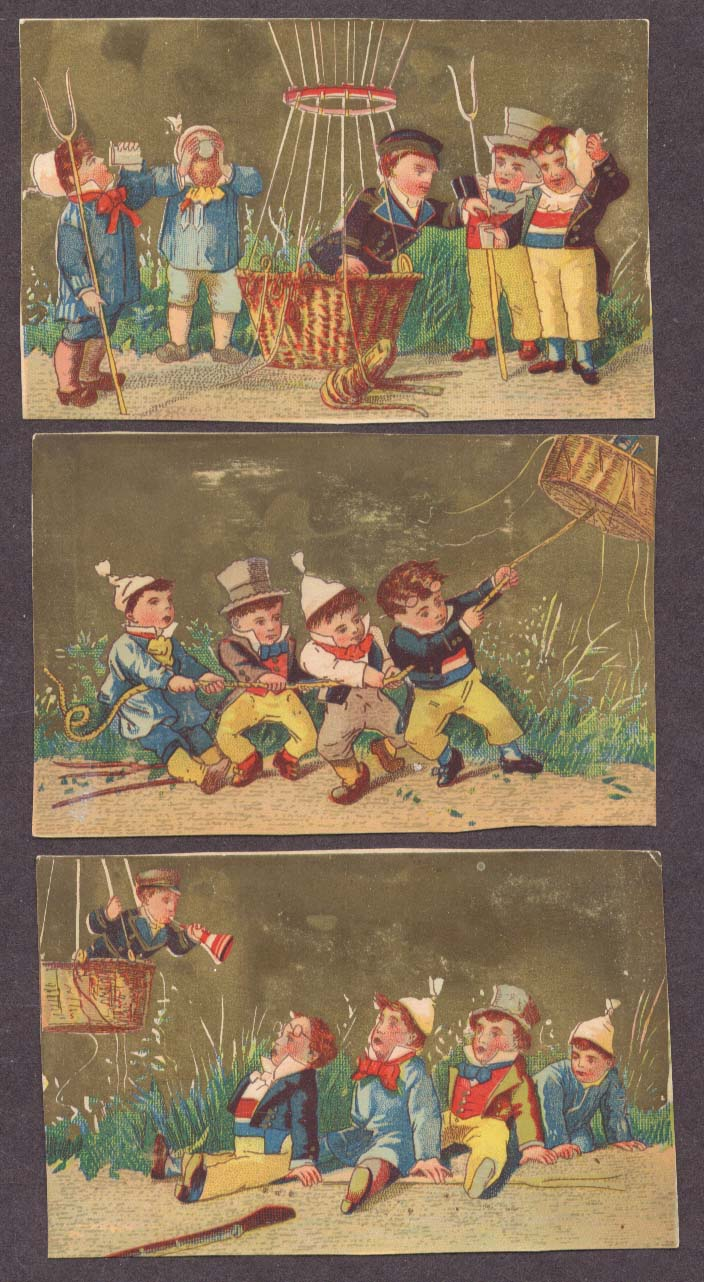 Hot air balloon ascent trade card series of 3 1880s