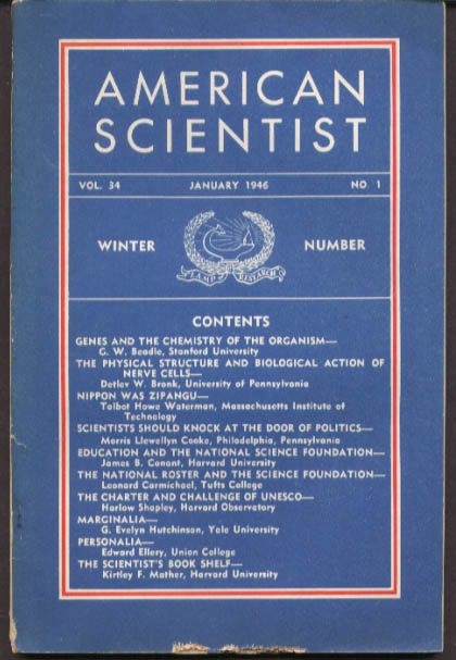 AMERICAN SCIENTIST Genes; WW2 Japan Electronics 1 1946