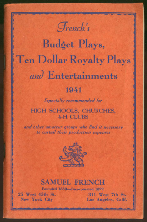 Samuel French's Budget Plays 1941 4-H Church High School +