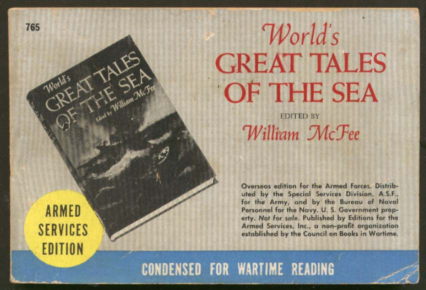 ASE 765 William McFee: World's Great Tales of the Sea Armed Services Edition