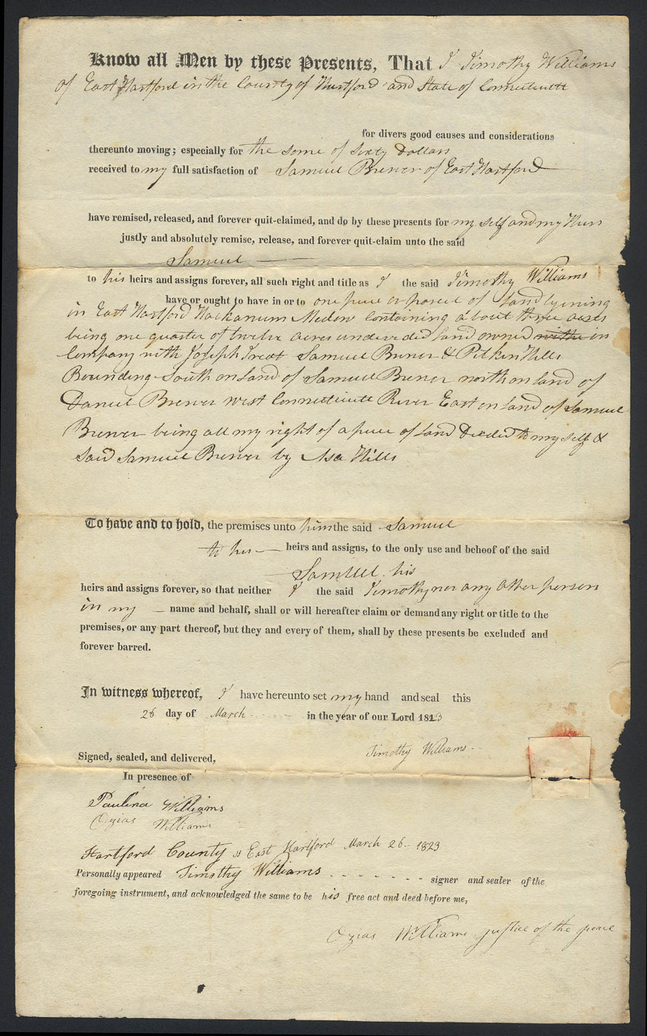 Timothy Williams Samuel Brewer E Hartford CT deed 1823