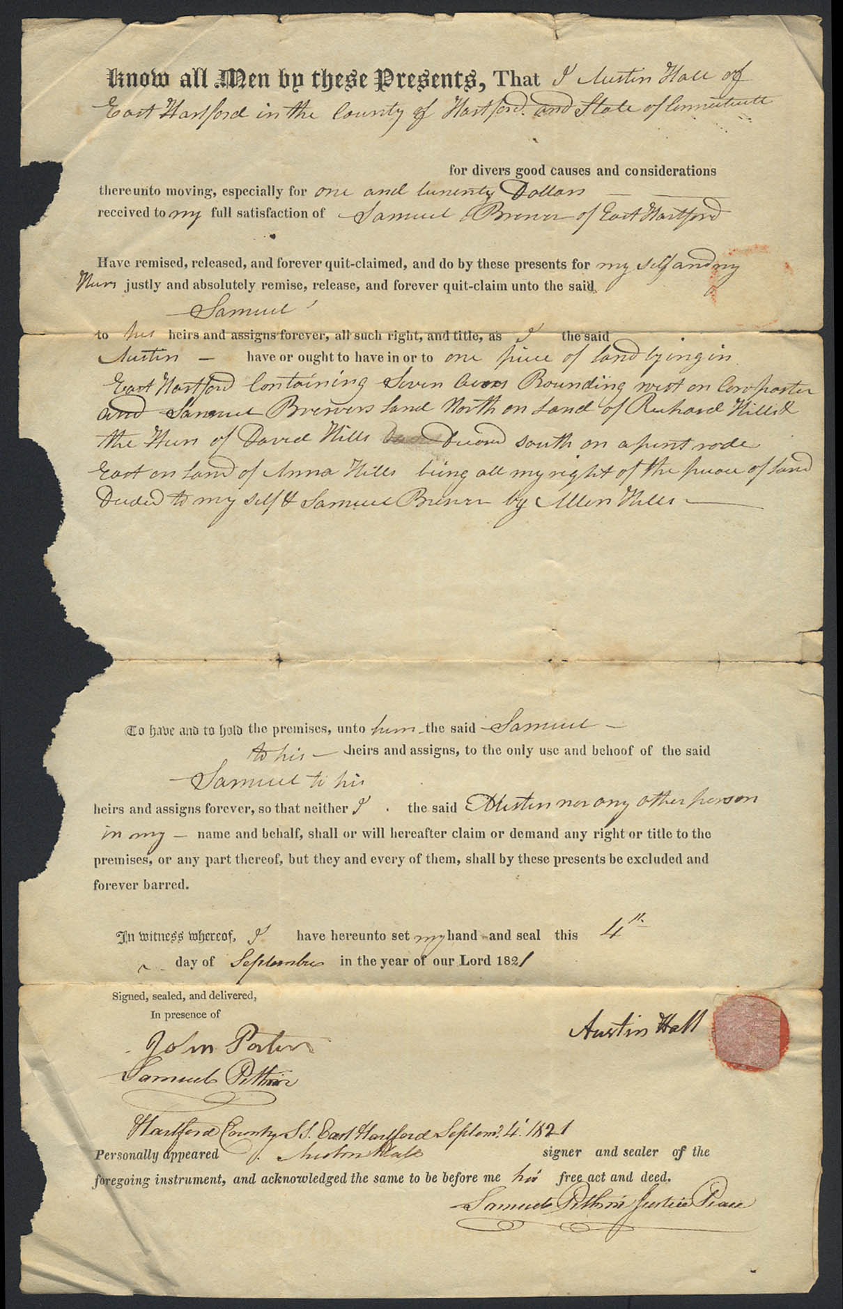 Austin Hall to Samuel Brewer E Hartford CT deed 1821