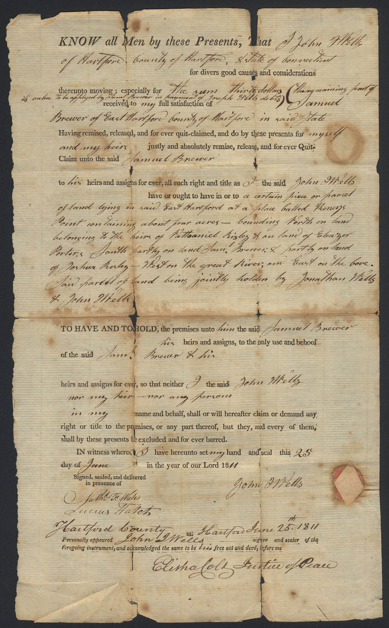 Image for John Wells to Samuel Brewer E Hartford CT deed 1811