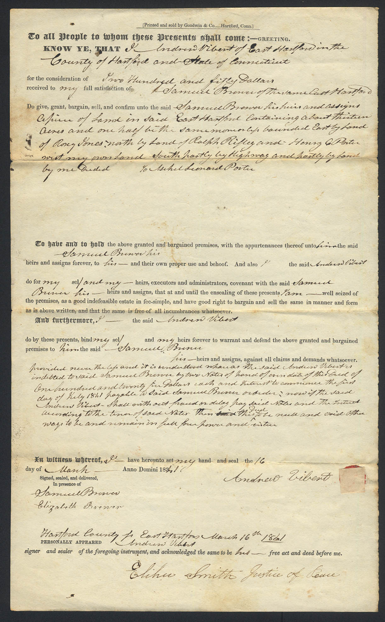 Image for Andrew Vibert to Samuel Brewer E Hartford CT deed 1841
