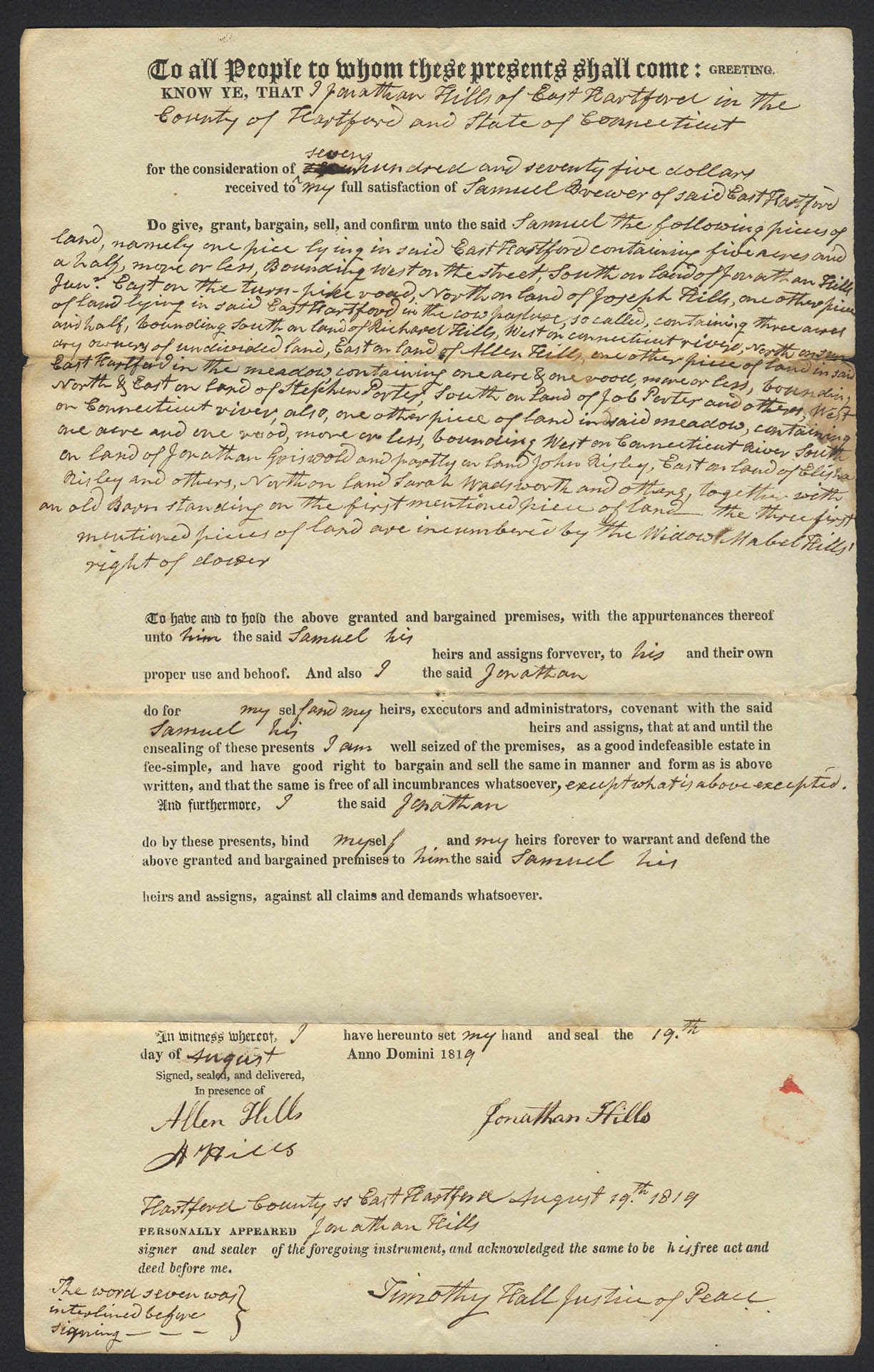 Image for Jonathan Hills to Samuel Brewer E Hartford CT deed 1819