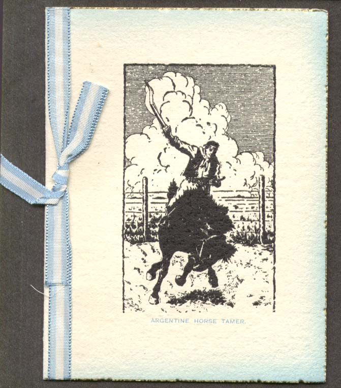 Argentine Horse Tamer Season's Greeting card 1940s