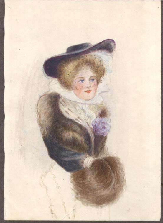 Gibson Girl-style watercolor & pastel drawing Louise Marvin ca 1910 furs