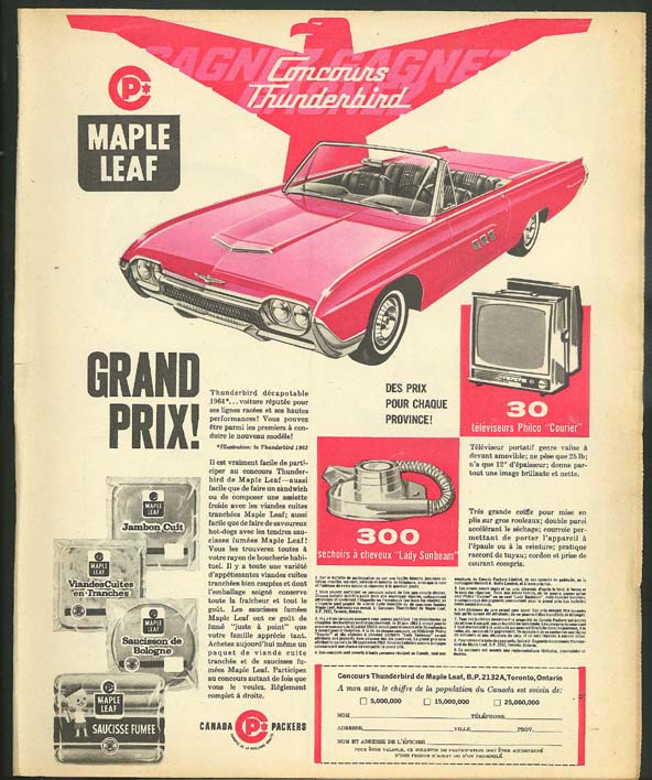 Image for Maple Leaf Meats 1963 Thunderbird Convertible ad Canada