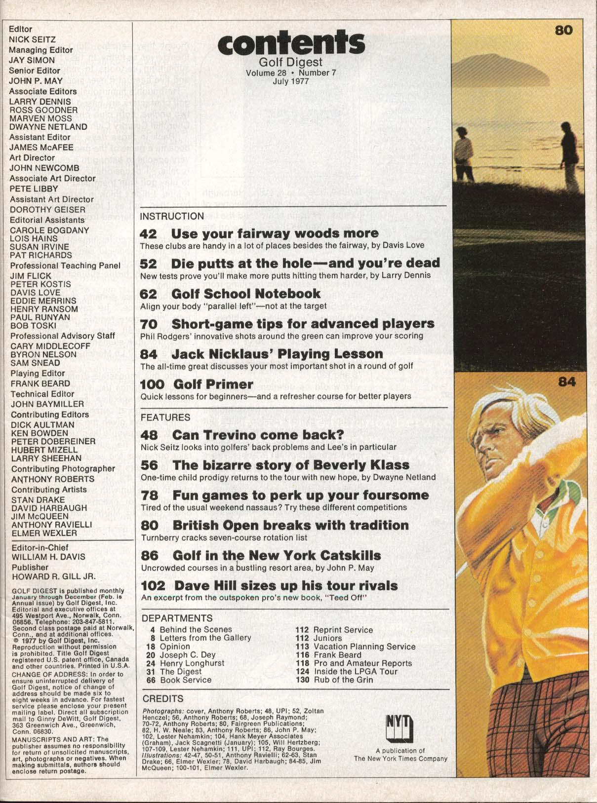 GOLF DIGEST Trevino Jack Nicklaus Beverly Klass 7 1977