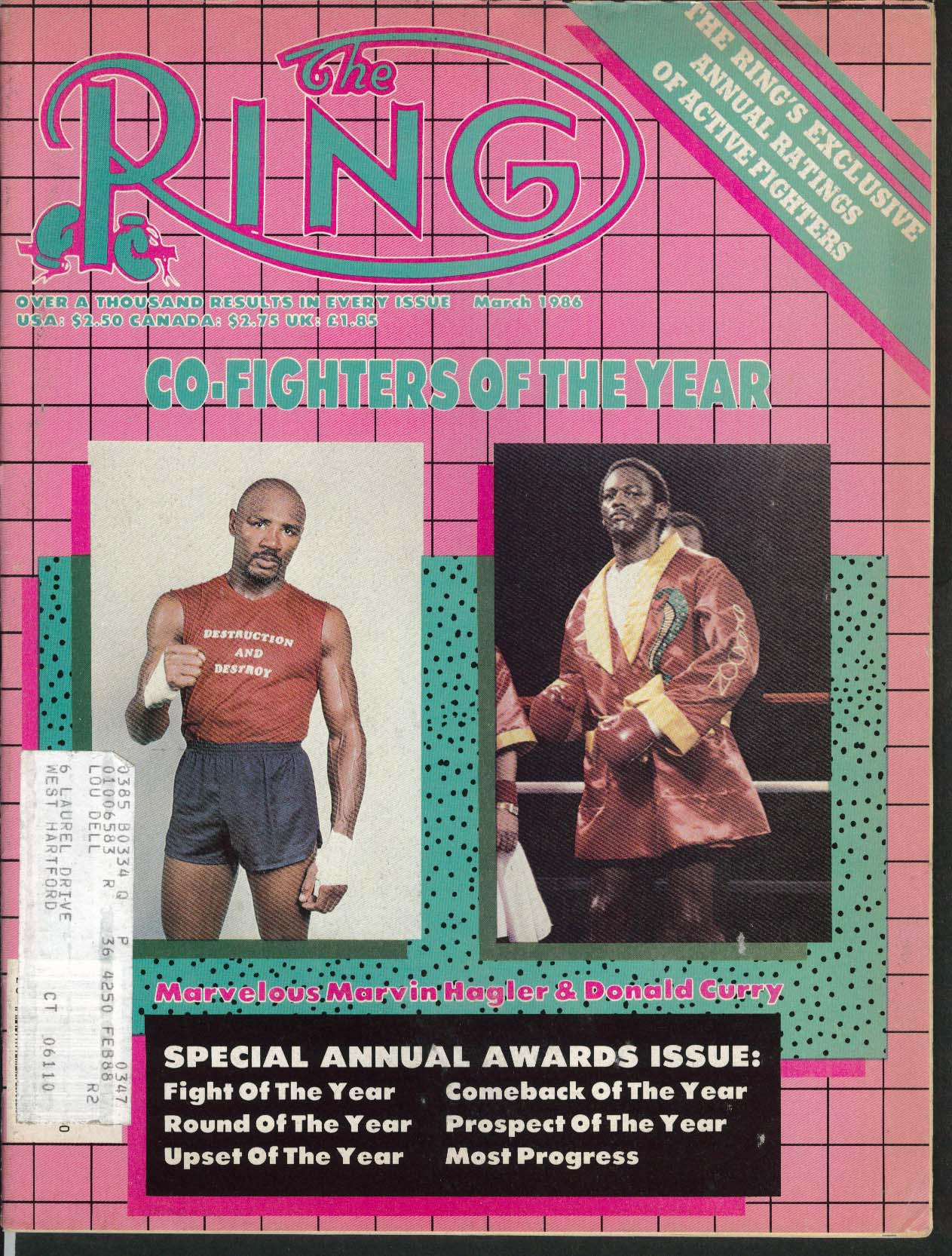 RING Marvin Hagler Donald Curry Awards Issue 3 1986