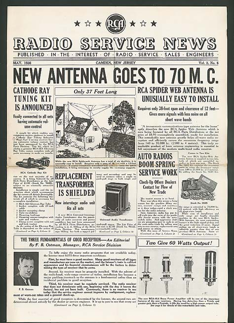 70MC Antenna: RCA RADIO SERVICE NEWS 5 1936