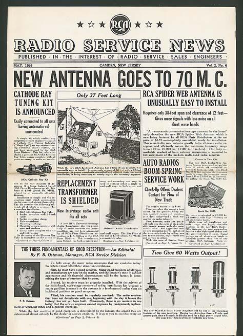 70MC Antenna: RCA RADIO SERVICE NEWS 5 1936