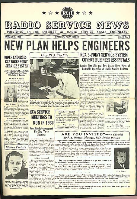 Engineer Plan: RCA RADIO SERVICE NEWS 1 1936