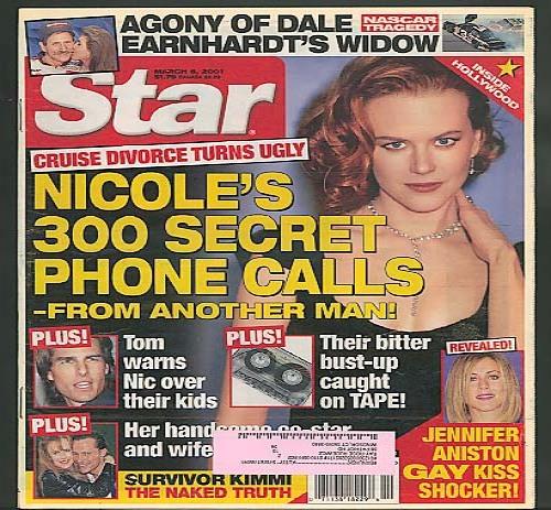 STAR Nicole Kidman Aniston Earnhardt Cruise 3/6 2001
