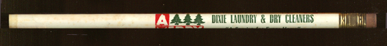 Dixie Laundry Wilmington NC Xmas advertising pencil