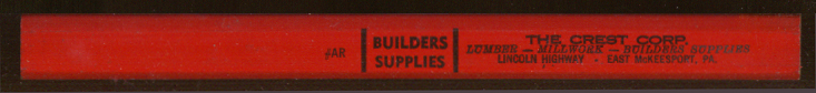 Crest Builders Supplies E McKeesport PA ad pencil