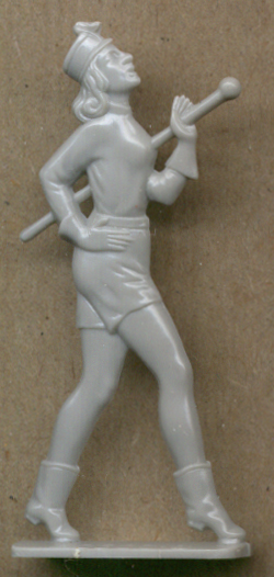 Band majorette in light grey Cracker Jack toy 1950s