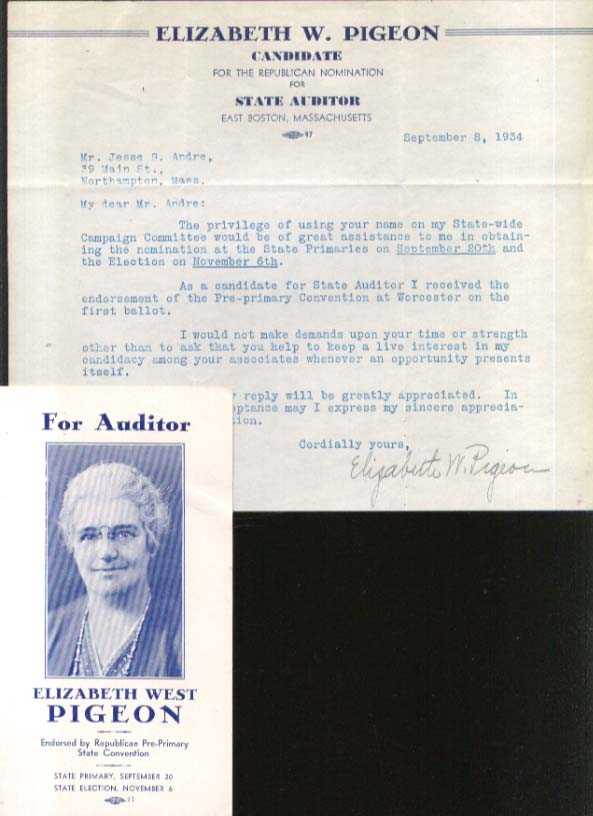 Elizabeth West Pigeon for MA Auditor letter & folder 1934
