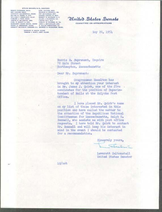 Senator Leverett Saltonstall letter SIGNED 1954