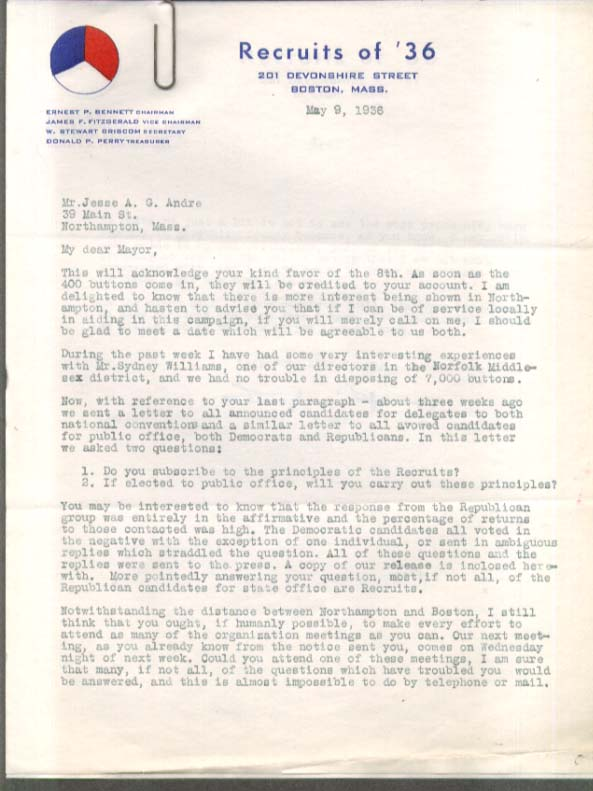 Anti-FDR Recruits of '36 letter re:400 buttons 5 1936