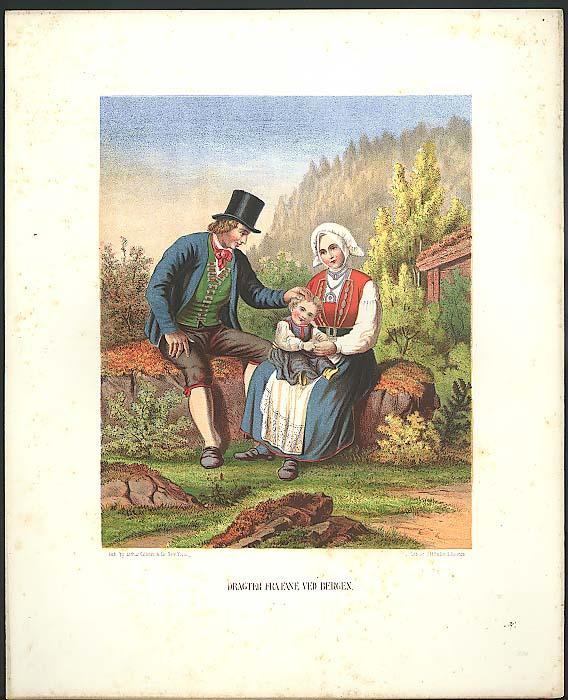 J H Bufford color lithograph Fra Fane Ved Bergen 1851
