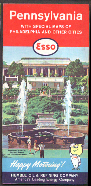 Esso Gasoline Road Map Pennsylvania 1961