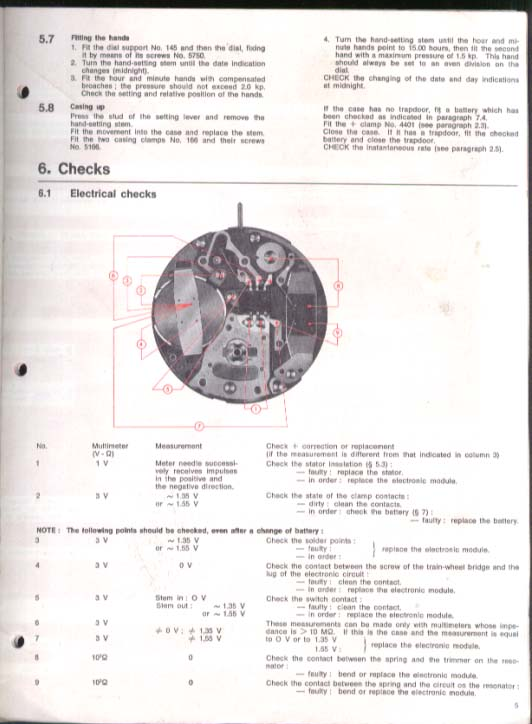 Ebauches SA 9180 9181 9182 9183 Watch Info Sheet 1975