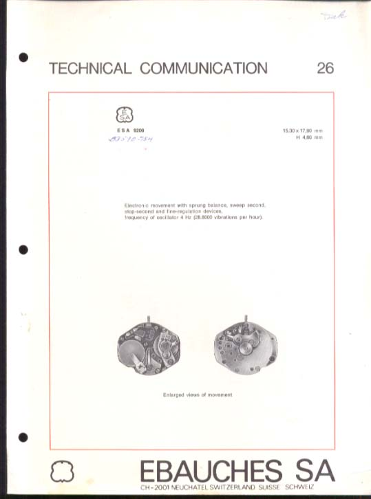 Ebauches ESA 9200 Watch Tech Info 1975