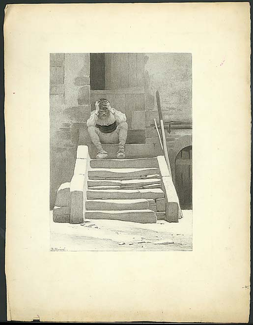 Bearded man on stone steps etching B Monvel ca 1890s
