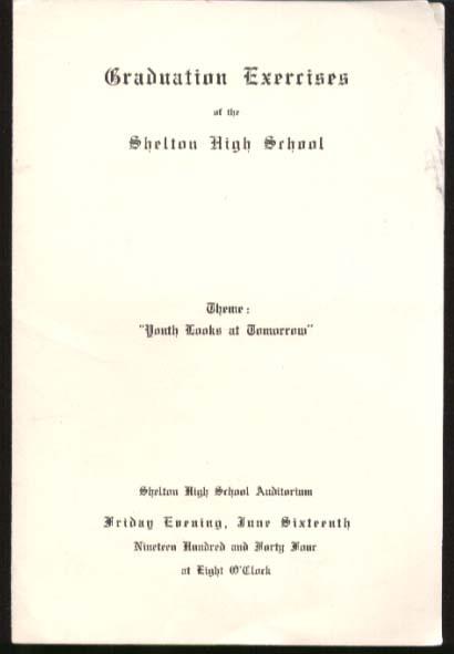 Shelton High Graduation Program 1944 CT