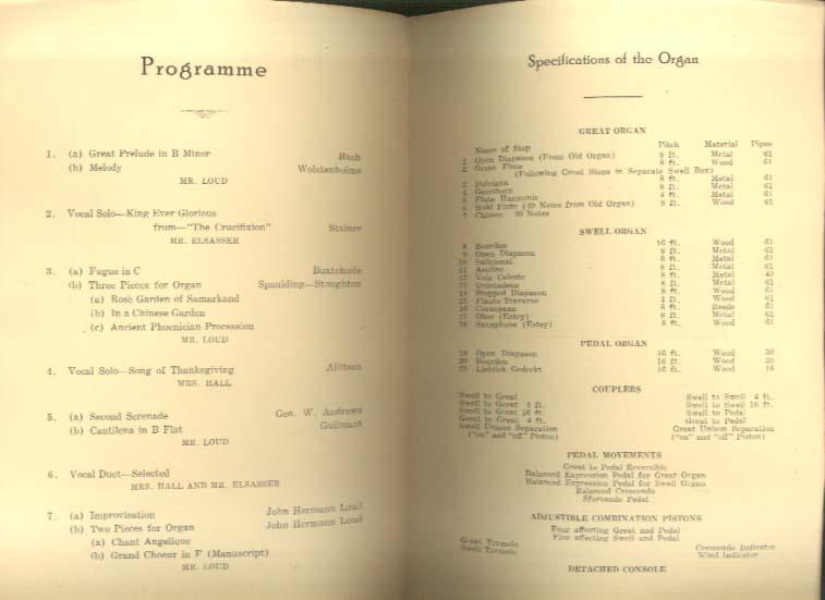 Estey Pipe Organ Inaugural Program South Congregational Church Newport NH 1921