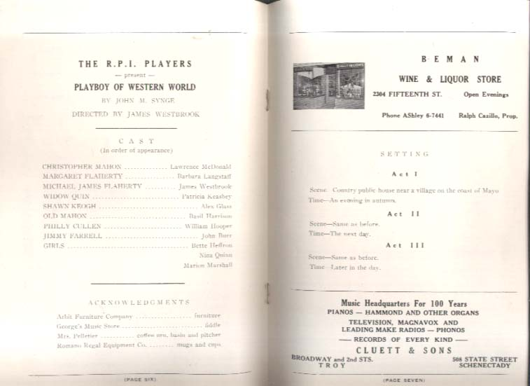RPI Players Playboy of Western World play program 1954