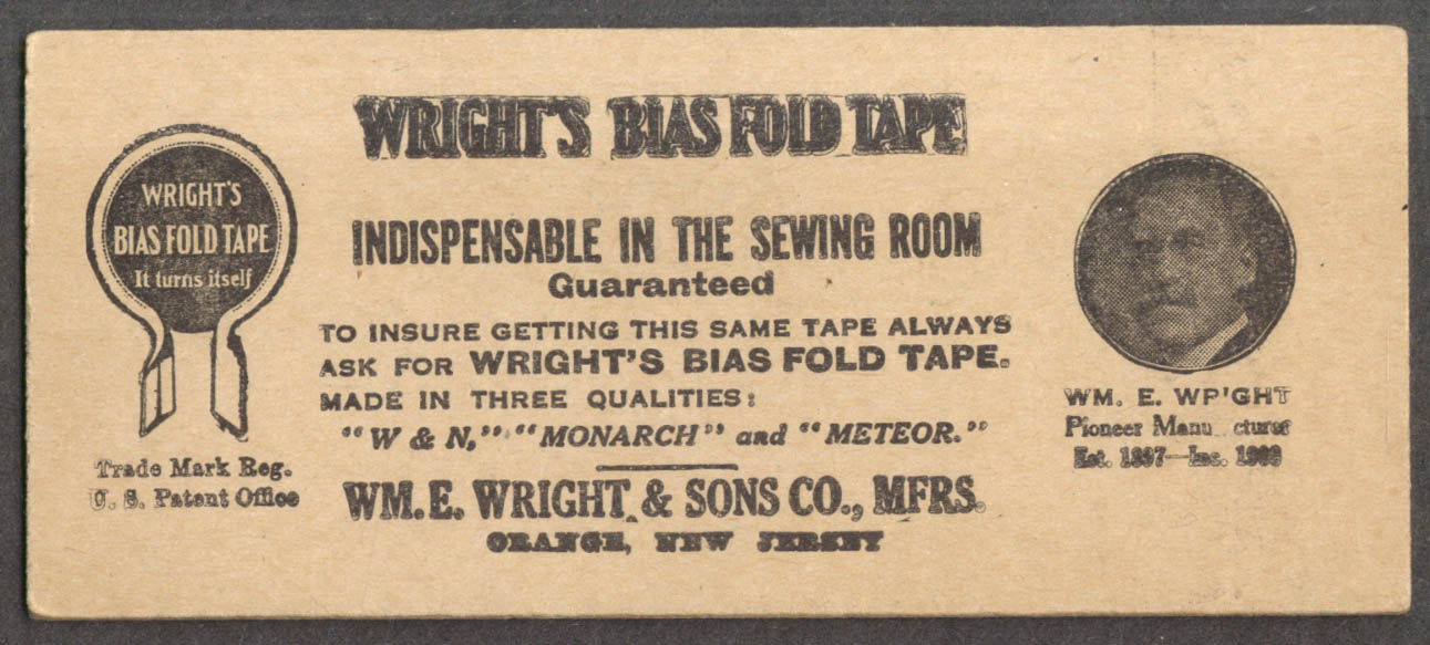 Wright's Bias Fold Sewing Tape promo card 1910s