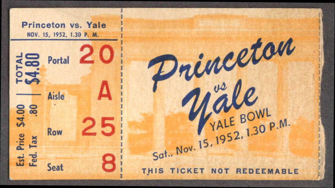 Princeton v Yale College Football stub Yale Bowl 1952