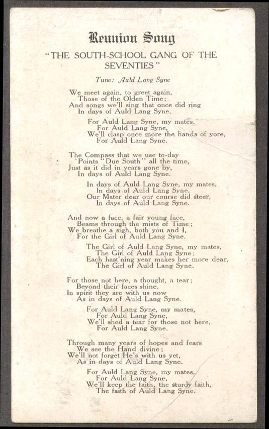 South School Hartford Reunion Song Card ca 1920 CT