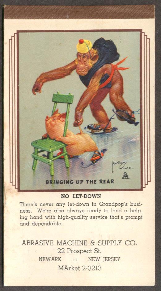 Lawson Wood monkeys Bringing Up Rear memo pad 12 1942
