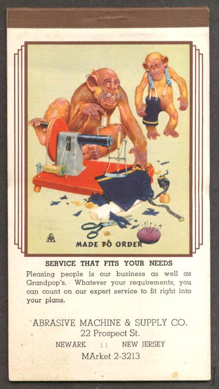 Lawson Wood monkeys Made to Order memo pad 3 1942
