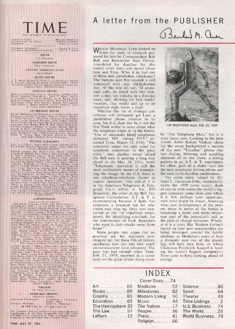 TIME Kappel AT&T LBJ Goldwater Laos Vietnam 5/29 1964